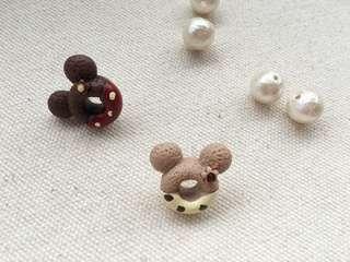 Micky/Kitty chocolate donut earrings