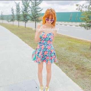 Tropical Floral Tube Bustier Dress