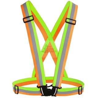 BN Safety Elastic Strip Vest - Mixed Colors (Orange & Green)