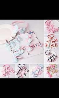 Gorgeous 7 pieces hair band hair clip hair tie accessories baby girl pink blue