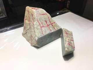 100%天然A貨翡翠 紫青原石件 約2kg