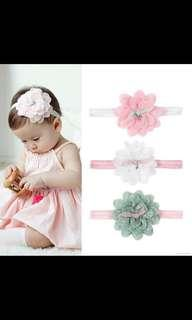 Brand new baby girl elastic flower lace head band sweet