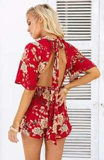 Chiffon Boutique - Orchid playsuit In Rust