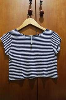 Stradivarius Blue Stripe Crop Top T-Shirt