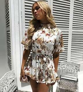 Chiffon boutique - orchid playsuit in white size 10