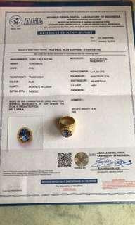 Cincin blue sapphire 13,75 crt