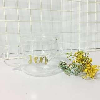 Customisable cup glass transparent Girlfriend Boyfriend calligraphy Husband farewell Day gift gifts present presents Friend valentines birthday Mugs Mug Coffee office customised valentine's valentine couple Colleagues Colleague Personalised cups wedding