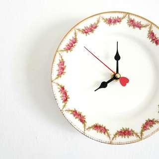 Handmade wall clock, antique English china plate clock, hand-decorated rose swags