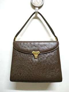 Vintage Genuine Brown Ostrich Leather Handbag