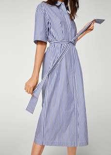 Mango Stripe Midi Shirtdress XS