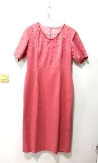 #bersihbersih Pink Floral Woman Dress (Rok Merah Muda)