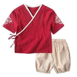 🚚 TZ041 Boys Traditional Chinese 2 pc Kungfu Set - Red
