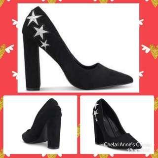 Black Patches Pump Heel