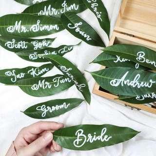 Fresh Leaf Wedding Place Card | Wedding Place Cards | Greenery Wedding | Wedding Calligraphy | Calligraphy | Botanical Wedding | Handwritten Leaf