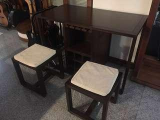 Solid Black Teak Bar and Desk