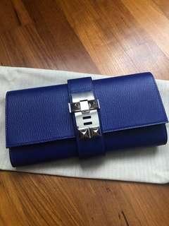BNIB Hermes Blue Electric Medor Clutch In Chèvre PHW