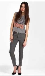 As new april 77 jett flesh grey ankle skinny jeans 26
