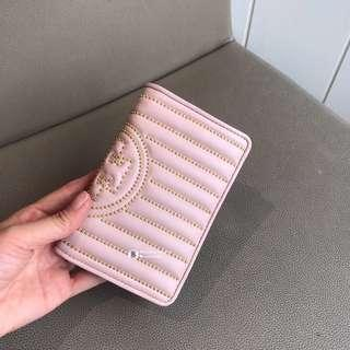 NEW😼Tory Burch Fleming Stud Short Wallet - pink