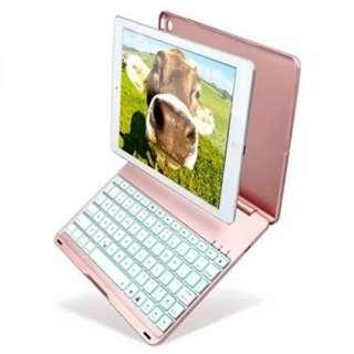 Bluetooth Keyboard Case with 7 Colors LED Backlit for iPad Air 2 Model A1566/A1567 (PINK) ------ 1133