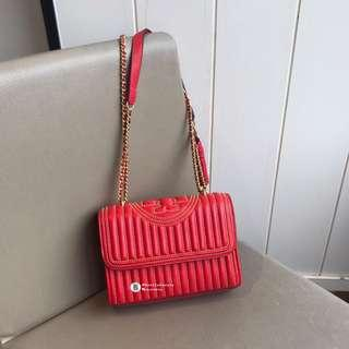 NEW❤️Tory Burch Fleming Stud Convertible Shoulder Bag- red