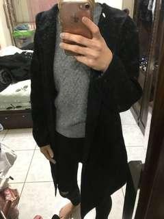 長版毛呢連帽大衣 黑
