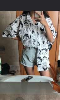 Ulzzang oversized emoticon button up tee