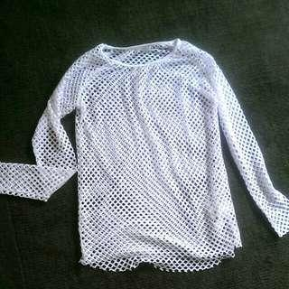 White fish net top