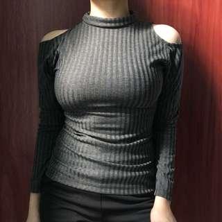 Cold shoulder cut turtleneck long sleeve