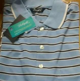 紳士短袖條紋上衣(全新、吸溼排汗、XL)