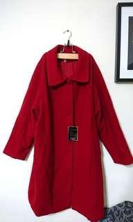 (全新)大紅色長版混羊毛外套(喜酒、過年、尾牙經典款)