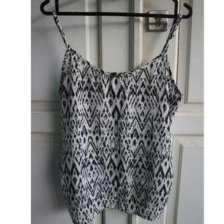 $ TRIBAL BLACK WHITE TANK TOP