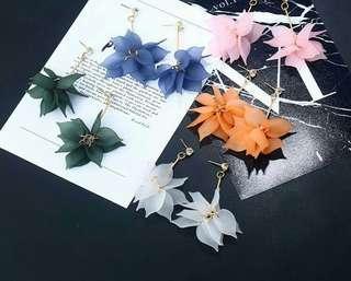 (PO)Women Long Statement Flower Petals Dangle Earrings Accessories