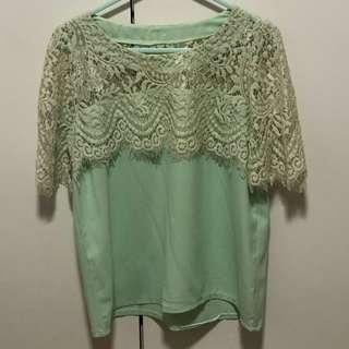 Turquoise Lace Blouse
