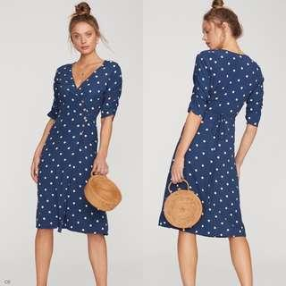 button wrap around dress