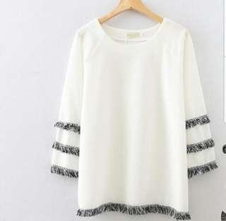 👉👉FS (L/XL) oversized white blouse tussel 3/4 sleeves ulzzang korean office
