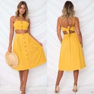 top & button  skirt set 3 colors