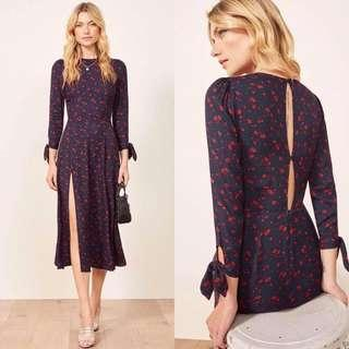 long sleeve red floral dress