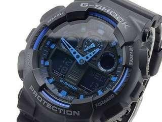 🖤100% Authentic Casio Gshock GA100 Black Blue Unisex Sports with FREE DELIVERY 📦 G-Shock