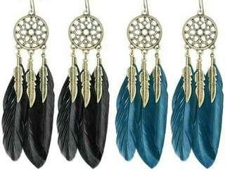 (PO)Women Bohemian Style Vintage Feather Leaves Drop Dangling Earrings