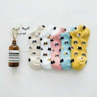 Cute Korean Socks (colorful cat designs)