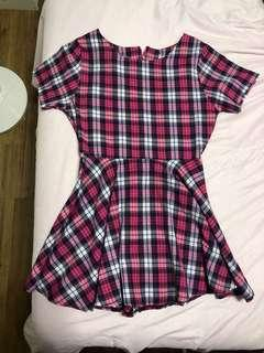 🚚 Pink Checkered Baby Doll Dress
