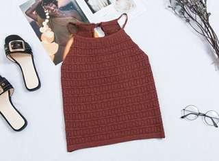 🚚 Brown Halter Knitted Top