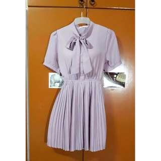 Vintage Style Pleated Dress Lavender Size S