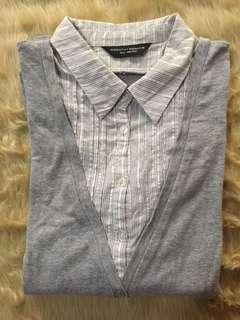 DOROTHY PERKINS Silver and Gray Stripes with Gray Vest