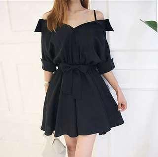 💖💖(L~5XL) Plus size dress ribbon belt off shoulder