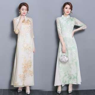 [PO] CNY Floral Mesh Long Cheongsam