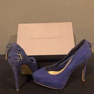 Charles & Keith High Heels navy blue shoe lace design