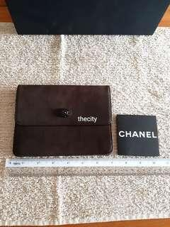 AUTHENTIC CHANEL CLUTCH BAG / WRISTLET POUCH - CHANEL CAMELLIA DESIGN- BROWN SUEDE LEATHER - CLEAN INTERIOR - HOLOGRAM SERIAL STICKER INTACT- (BOUGHT AROUND RM 5000+) - RM 255 ONLY