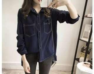 💖💖(M~5XL) Plus size denim color shirt pockets