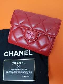 Chanel Classic Red Lambskin Wallet Card Holder Case XL